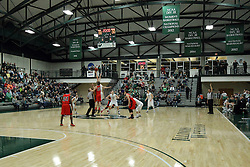 10 January 2015:  Tip off in the Shirk Center during an NCAA mens division 3 CCIW basketball game between the Carthage Reds and the Illinois Wesleyan Titans in Shirk Center, Bloomington IL