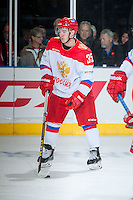 KELOWNA, CANADA - NOVEMBER 9: Ivan Nikolishin #35 of Team Russia warms up against the Team WHL on November 9, 2015 during game 1 of the Canada Russia Super Series at Prospera Place in Kelowna, British Columbia, Canada.  (Photo by Marissa Baecker/Western Hockey League)  *** Local Caption *** Ivan Nikolishin;