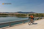 Joe Grabowski gravel bike riding fromHot Springs to Polson, Montana, USA  crossing the Flathead River on Buffalo Bridge model released