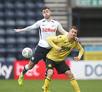 Preston North End's Andrew Hughes  in action with Millwall's Jed Wallace<br /> <br /> Photographer Mick Walker/CameraSport<br /> <br /> The EFL Sky Bet Championship - Preston North End v Millwall - Saturday 15th February 2020 - Deepdale Stadium - Preston<br /> <br /> World Copyright © 2020 CameraSport. All rights reserved. 43 Linden Ave. Countesthorpe. Leicester. England. LE8 5PG - Tel: +44 (0) 116 277 4147 - admin@camerasport.com - www.camerasport.com