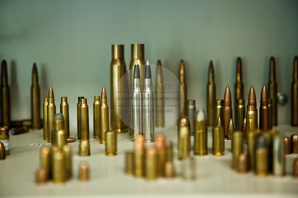 A collection of various bullets used in drug related crimes at the Juarez City Forensic Lab in Juarez, Mexico January 16, 2009.  An ongoing drug war has already claimed more than 40 people since the start of the year. More than 1600 people were killed in Juarez in 2008, making Juarez the most violent city in Mexico.    (Photo by Richard Ellis)