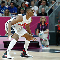 02 August 2012: USA Russell Westbrook is seen on defense during 156-73 Team USA victory over Team Nigeria, during the men's basketball preliminary, at the Basketball Arena, in London, Great Britain.
