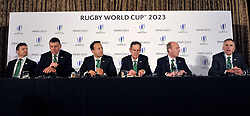 RETRANSMITTED CORRECTING SURNAME OF IRFU CHIF EXECUTIVE (left to right) Former Ireland captain Brian O'Driscoll, IRFU Chief Executive Philip Browne,Taoiseach, Leo Varadkar, Dick Spring Chairman, Ireland 2023 Oversight Board, Transport Minister Shane Ross and David Sterling, Head of the Northern Ireland Civil Service, during the 2023 Rugby World Cup host candidates presentations at the Royal Garden Hotel in London, where they are bidding to host the event against France and South Africa.