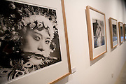 A photograph of a Chinese Opera character, part of an exhibit at the Three Shadows Gallery in Beijing.