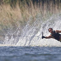 Competitor Gabor Nemeth practices during the training day of an international slalom water ski competition in Kal, Hungary. Friday, 07. August 2009. ATTILA VOLGYI