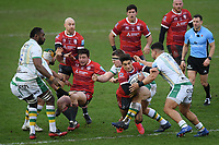 Rugby Union - 2020 / 2021 Gallagher Premiership - Gloucester vs Northampton Saints - Kingsholm<br /> <br /> Gloucester's Santiago Carreras is tackled by Northampton Saints' Samuel Matavesi.<br /> <br /> COLORSPORT/ASHLEY WESTERN