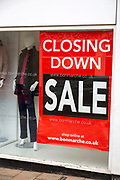 Window poster banner Closing Down sale at Bonmarche shop, Bury St Edmunds, Suffolk, England, UK