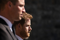 The Duke of Cambridge and Prince Harry walk in the procession at Windsor Castle, Berkshire, during the funeral of the Duke of Edinburgh. Picture date: Saturday April 17, 2021.