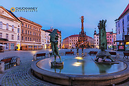 Arion Fountain and Pillar of the Holy Trinity in the Upper Town Square in Olomouc, Czech Republic