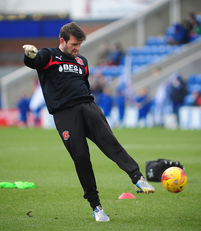 Fleetwood Town's Goalkeeper Coach David Lucas during the pre-match warm-up <br /> <br /> Photographer Chris Vaughan/CameraSport<br /> <br /> Football - The Football League Sky Bet League One - Chesterfield v Fleetwood Town - Saturday 28th February 2015 - Proact Stadium - Chesterfield<br /> <br /> © CameraSport - 43 Linden Ave. Countesthorpe. Leicester. England. LE8 5PG - Tel: +44 (0) 116 277 4147 - admin@camerasport.com - www.camerasport.com