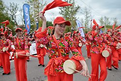 September 16, 2016 - Wuhan, China - Traditional musicians during their performance at the start line of the final sixth stage, 99.6km Wuhan Xinzhou Circuit race, of the 2016 Tour of China 1...On Friday, 16 September 2016, in Xinzhou, Wuhan , China. (Credit Image: © Artur Widak/NurPhoto via ZUMA Press)