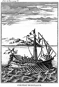 Roman war galley equipped with a corvus (right). 18th century copperplate engraving.