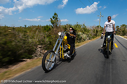 Xavier Muriel riding a Little Twisted, the Twisted Tea Panhead built by Cycle Source Magazine with Nick Pensabene on his custom chopper through Tomoka State Park during Daytona Bike Week. FL. USA. Sunday March 18, 2018. Photography ©2018 Michael Lichter.