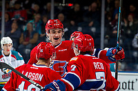KELOWNA, BC - MARCH 13: Jack Finley #26 of the Spokane Chiefs celebrates a goal against the Kelowna Rockets at Prospera Place on March 13, 2019 in Kelowna, Canada. (Photo by Marissa Baecker/Getty Images)