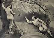 Le Paradis Perdu (fragment) [Paradise Lost] by Gustave Courtois from Le Nu au Salon 1908 A collection of Nude photography published in Paris in 1908 by Société nationale des beaux-arts (France). et Société des artistes français. Catalogs of nudes exhibited at the official Paris Salons. Some years have two parts: The Salon held at the Champs Élysées sponsored by the Société des artistes français and the Salon held at the Champ de Mars sponsored by the Société nationale des beaux-arts
