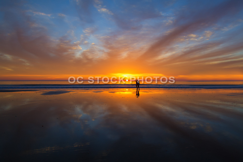 Couple on the Beach in San Clemente at Sunset
