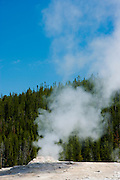 Old Faithful Geyser between eruptions in the Upper Geyser Basin, Yellowstone National Park, Wyoming.