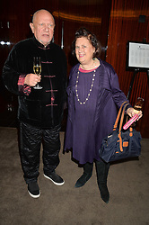 STEVEN BERKOFF and SUZY MENKES at a dinner hosted by Liberatum to honour Francis Ford Coppola held at the Bulgari Hotel & Residences, 171 Knightsbridge, London on 17th November 2014.