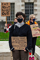 Protesters  opposite Downing Street to call on the government to provide free school meals Photo by Mark Anton Smith
