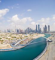 Panoramic aerial view of the Tolerance pedestrian Bridge in Dubai, U.A.E.