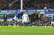 Oumar Niasse of Everton heads the ball and scores his teams 2nd goal. Premier league match, Everton v Crystal Palace at Goodison Park in Liverpool, Merseyside on Saturday 10th February 2018. pic by Chris Stading, Andrew Orchard sports photography.