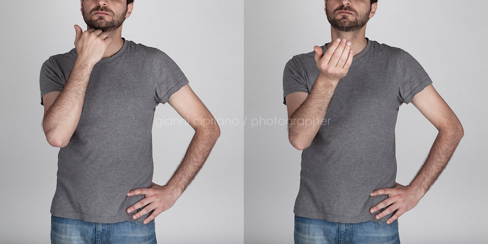 """A diptic illustrating an Italian hand gesture meaning """"I don't care""""."""