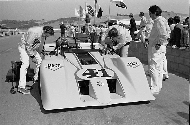 """Four-engines and four-wheel-drive, the highly experimental """"Mac's-It Special"""" built by former Shelby crewman Jack Hoare. Seen at the 1970 Laguna Seca Can-Am, where it practiced but never raced."""