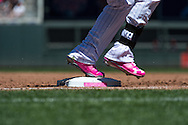 A close up view of one of the bases used on Mother's Day as one of the Minnesota Twins players steps on it during a game against the Baltimore Orioles on May 12, 2013 at Target Field in Minneapolis, Minnesota.  The Orioles defeated the Twins 6 to 0.  Photo: Ben Krause
