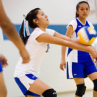 110112       Cable Hoover<br /> <br /> Zuni Thunderbird Chelsea Curley (12) bumps the ball back to the Navajo Prep Eagles Thursday at Zuni High School.