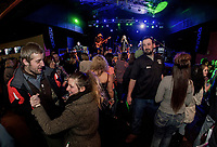 Bora and Colleen have a dance together with the Jodie Cunningham Band on stage Saturday night for opening weekend at the Whiskey Barrel in downtown Laconia.   (Karen Bobotas/for the Laconia Daily Sun)