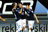 Fotball Tippeligaen 2015  05.07.2015<br /> Gamle Gress Marienlyst stadion Drammen<br /> <br /> Resultat 4 - 1<br /> <br /> Strømsgodset vs Viking<br /> <br /> Strømsgodset Lars Vilsvik jubler for sin scoring med Petter Vaagan Moen og Gustav Mendonca Wikheim<br /> <br /> Viking<br /> <br /> <br /> Foto: Robert Christensen Digitalsport