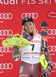 28.01.2018, Lenzerheide, SUI, FIS Weltcup Ski Alpin, Lenzerheide, Slalom, Damen, Siegerehrung, im Bild Frida Hansdotter (SWE) // Frida Hansdotter of Sweden during the winner Ceremony for the ladie's Slalom of FIS Ski Alpine World Cup in Lenzerheide, Austria on 2018/01/28. EXPA Pictures © 2018, PhotoCredit: EXPA/ Sammy Minkoff<br /> <br /> *****ATTENTION - OUT of GER*****
