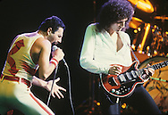 LOS ANGELES, CA - SEPTEMBER 15: Freddie Mercury an Brian May of Queen in concert at The Forum on September 15, 1982 in Los Angeles, California.