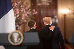 April 24, 2018 - Washington, District of Columbia, U.S. - President DONALD TRUMP, French President EMMANUEL MACRON after press conference and arrival ceremony of the President of France. (Credit Image: ? White House via ZUMA Wire/ZUMAPRESS.com)
