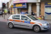 A Metropolitan Police car respond to an emergency in Stoke Newington, Hackney, London.