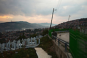 An Islamic cemetery above the old town of Sarajevo, Bosnia and Hercegovina