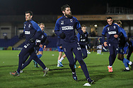 AFC Wimbledon midfielder Anthony Wordsworth (40) warming up prior to kick off during the EFL Sky Bet League 1 match between AFC Wimbledon and Burton Albion at the Cherry Red Records Stadium, Kingston, England on 28 January 2020.
