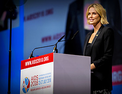 South African actress Charlize Theron speaks during a Pass The Mic session at the AIDS 2018 congress in Amsterdam, Netherlands, July 24, 2018. Photo by Robin Utrecht/ABACAPRESS.COM