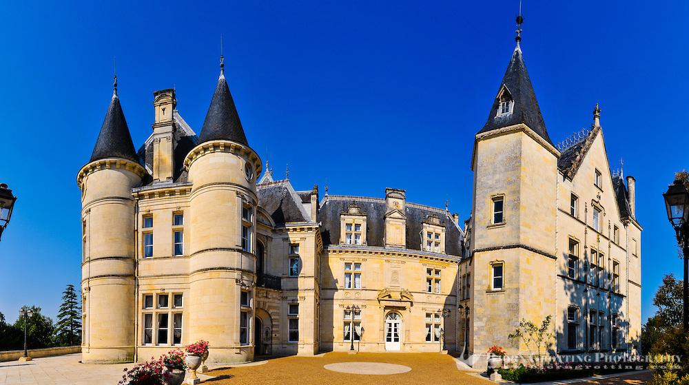 France, Mirambeau. Château de Mirambeau, today a five star hotel. Stitched panorama.