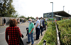 Forest Green Rovers fans que patiently outside the stadium - Mandatory by-line: Nizaam Jones/JMP - 19/09/2020 - FOOTBALL - New Lawn Stadium - Nailsworth, England - Forest Green Rovers v Bradford City - Sky Bet League Two