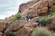 Group of hikers in the Kidron Valley, Judean Desert, Israel / Palestine