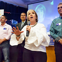 New Mexico governor candidate Congresswoman Michelle Lujan Grisham spoke to her constituents in Gallup, NM on Friday evening. Behind Grisham, potential Lt. Governor Howie Morales, left, and Navajo Nation Presidential Candidates Jonathan Nez, center, and Joe Shirley Jr.