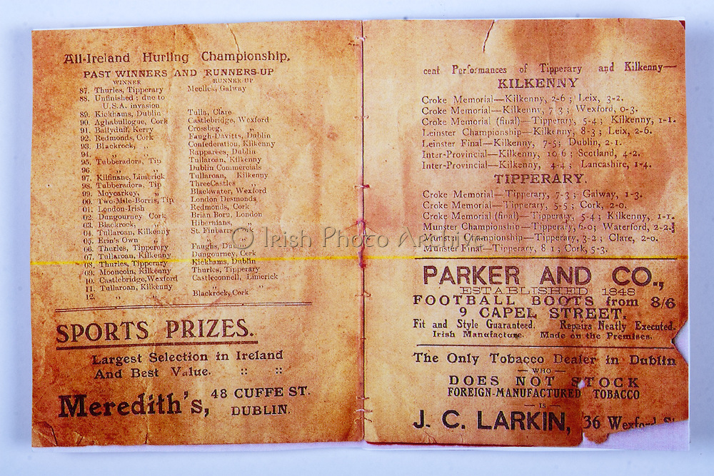 All Ireland Senior Hurling Championship Final,.02.11.1913, 11.02.1913, 2nd November 1913,.Tipperary 1-2,, Kilkenny 2-4,.Senior Tipperary v Kilkenny, .Jones's Road Dublin, ..Articles, List of All Ireland Hurling Championship Past Winners and Runners-Up 1887-1912, Performances of Kilkenny and Tipperary, ..Advertisements, Meredith's Sport Prizes, Parker and Co. Football Boots, J.C. Larkin Tobacco Dealer, .