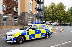 © Licensed to London News Pictures;15/10/2021; Police have cordoned off a large area around the scene of the murder of a young man last night reportedly in Hayes Close in the Newtown area of Lawrence Hill, where a white police forensics tent can be seen. A man hss been arrested on suspicion of murder and remains in police custody. Photo credit: Simon Chapman/LNP.