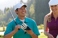 Shimmy and Jamie discuss and laugh about their round at the Whistler Golf Course. On assignment for the course, general advertising use.