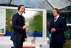 Sky Sports pundits Will Greenwood (left) and Lewis Moody (right) before the Autumn International at Twickenham Stadium, London.