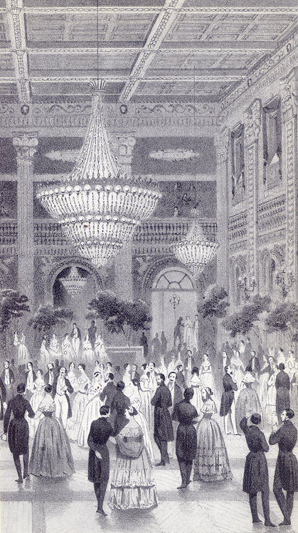 The large hall in the conversation house of Baden-Baden lithograph by muller and laby after a drawing by E. Jaquemot about 1855