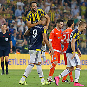 Fenerbahce's (L-R) Volkan Sen, Fernandao, Caner Erkin during their UEFA Europa league Play-Offs Second Leg soccer match Fenerbahce between Atromitos at the Sukru Saracaoglu stadium in Istanbul Turkey on Thursday 27 August 2015. Photo by Aykut AKICI/TURKPIX
