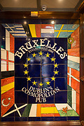 Bruxelles, a traditional pub with an Irish heavy rock heritage, located in Temple Bar on 3rd April 2017 in Dublin, Republic of Ireland. Temple Bar is an area on the south bank of the River Liffey in central Dublin. Dublin is the largest city and capital of the Republic of Ireland.