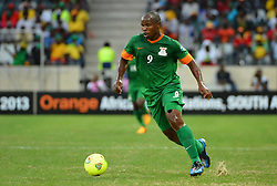 Zambia's Collins Mbesuma during the 2013 Orange Africa Cup of Nations soccer match, Zambia Vs Nigeria at The Giraffe Stadium in Mbombela, South Africa on January 25, 2013. The match ended in a 1-1 draw. Photo by Christian Liewig/NCI/ABACAPRESS.COM    349919_054